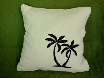 手刺繍クッションカバー(ココナツツリー)の画像
