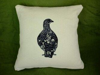 手刺繍クッションカバー(雷鳥)の画像