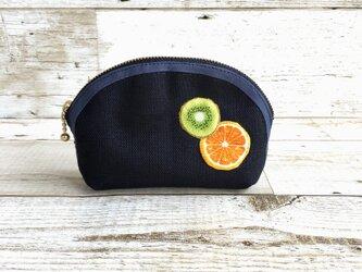 国産帆布×フルーツの小さめポーチ②  小物入れ  オレンジ×キウイの画像
