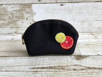 国産帆布×フルーツの小さめポーチ③  小物入れ  オレンジ×ライムの画像