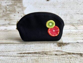 国産帆布×フルーツの小さめポーチ④  小物入れ  オレンジ×キウイの画像