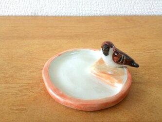 雀とみかんのトレイ(陶器)の画像