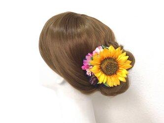 浴衣髪飾りに♡夏の向日葵とピンクのお花のヘアクリップ  向日葵 おでかけ 浴衣 ひまわり 髪飾りの画像