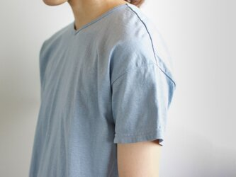 used plain stitches/neck reversible tshirt/fogblueの画像