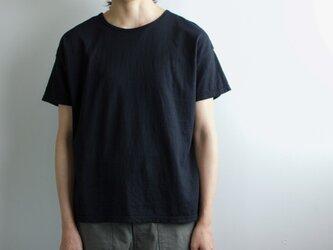 used plain stitches/neck reversible tshirt/blackの画像