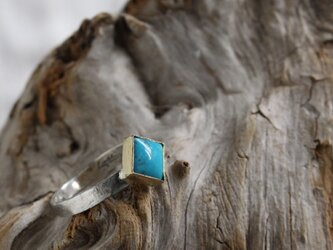 Blue Turquoise Square Ring ブルーターコイズのスクエアリング Silver925+Blass #11号の画像