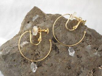 Herkimer Diamond Hooped earrings ハーキマーダイヤモンドのフープイヤリングの画像