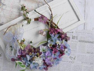 紫陽花の花かごリースの画像