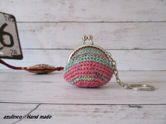 手編み ミニガマ口 Opal 9714 シルバーの画像