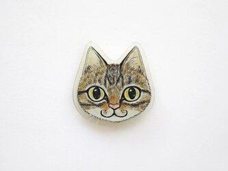 猫顔プラバンブローチ(キジトラ)の画像
