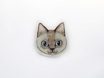 猫顔プラバンブローチ(ポイント)の画像