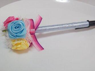リボンデコレーションペン☆ばら☆ライトブルー系の画像