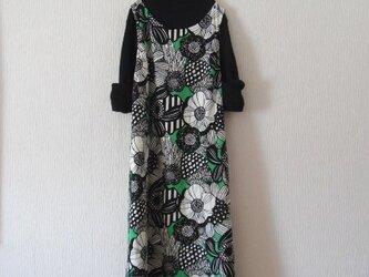 綿麻のジャンパースカート グリーンの画像