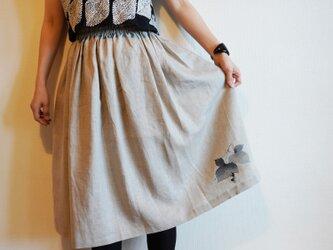 リネン・ギャザースカート ベージュ<葡萄>の画像