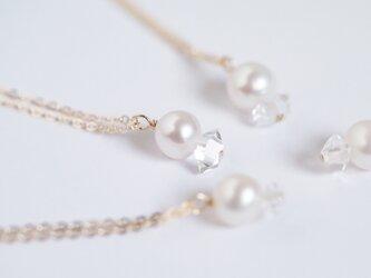 日向坂46着用*【14kgf/NYハーキマーダイヤモンド/本真珠】パールとシリウス ネックレス (40cm)の画像