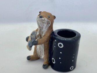 陶のスタンド「コツメカワウソ」の画像