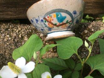 青い鳥と金魚の小さめご飯茶碗の画像