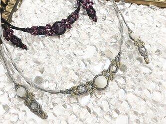 新色追加!天然石のマクラメ編みネックレス【花瓶】グレー系・ムーンストーンの画像