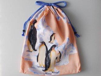 ■浴衣リメイク 大き目巾着袋 ペンギン柄 ピンク (シューズ、スポーツウエア入れ)着物リメイクの画像