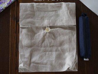 【wafu】リネン クラッチバック マチ付き 防菌 防臭 / 亜麻ナチュラル【35cm×27.5×9cm】z011a-amn2の画像