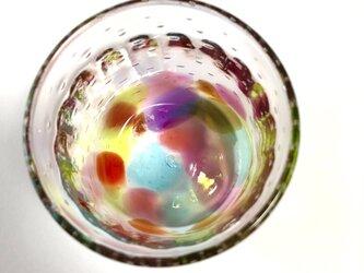 キラリ レインボー泡 ロックグラス ⑶の画像