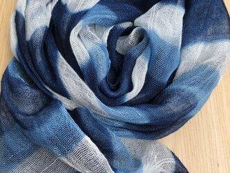 レーヨンボーダーー藍染ストールの画像