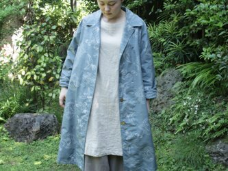 紬着物のステンカラーコートの画像