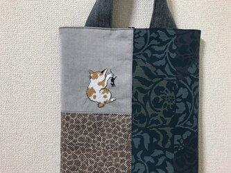 浮世絵刺繍バッグ*河鍋暁斎「月夜に鼠を捕らえた猫」の画像