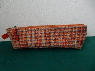 裂き織のペンケース  オレンジの画像
