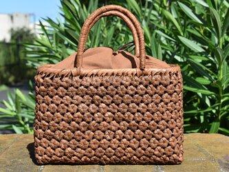 山葡萄(やまぶどう)籠バッグ | 六角花結び編み | 巾着と中布付き | (約)幅30cmx高さ19cmx奥行8cmの画像