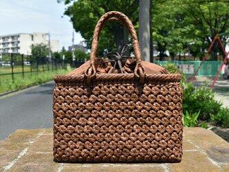 山葡萄(やまぶどう)リング取手籠バッグ | 六角花結び編み | 巾着と中布付き | (約)幅30cmx高さ20cmx奥行8cmの画像