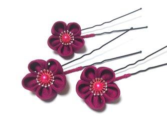 つまみ細工の髪飾り【赤紫】Uピン3本セットの画像