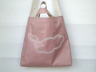 リバーシブル帆布ショルダーバッグ 雲々 ピンクの画像