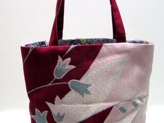 帯リメイク 花柄 トートバッグ の画像