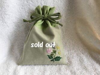 ハーブ刺繍の巾着の画像