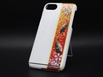 塗装スマホケース(和柄桜鯉[白紅金])【iPhone678用】の画像