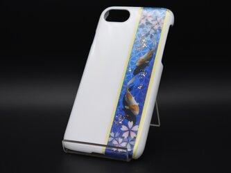 塗装スマホケース(和柄桜鯉[白瑠璃])【iPhone678用】の画像