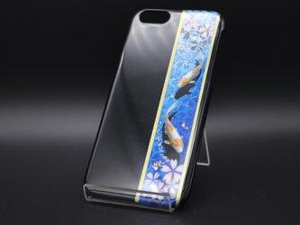 塗装スマホケース(和柄桜鯉[黒瑠璃])【iPhone678用】の画像