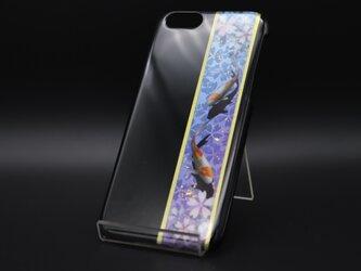 塗装スマホケース(和柄桜鯉[黒紫水])【iPhone678用】の画像