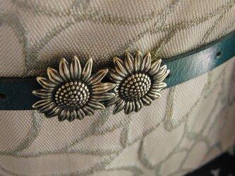 真鍮ブラス製 夏浴衣やポップな着物コーデに向日葵/ひまわり帯留め 帯締めの飾り・ブレスやチョーカー飾りにの画像