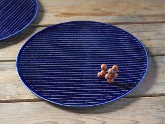 瑠璃色の陶板のお皿(大)の画像
