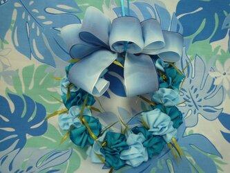 リボンレイ☆マリーゴールドのリース(ブルー)の画像