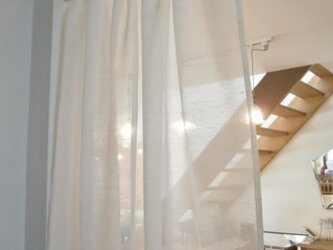 コットン×スカラップレースのカフェカーテンの画像