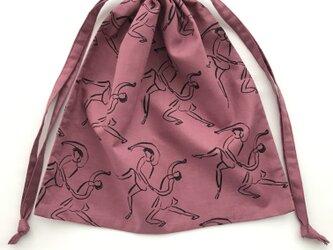 ダンス 巾着袋 ピンクの画像