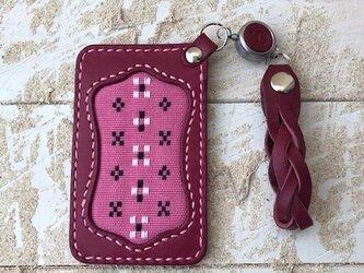レザー パスケース(定期入れ) リール&ストラップ付き ワイン 知花織 (織物シリーズ)の画像