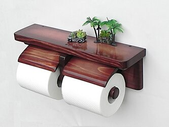 木製トイレットペーパーホルダー Ver.13(マホガニー グラデーション)の画像