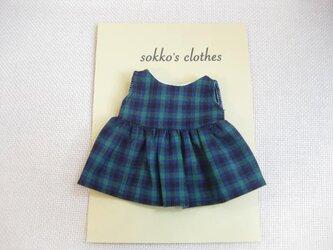 sokko's Dress 緑・紺・黒のチェック柄ワンピーススカートの画像