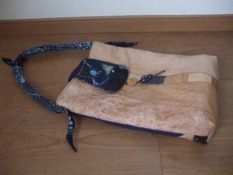 藍染絣と柿渋染めの縦長ショルダーバッグ 木綿の画像