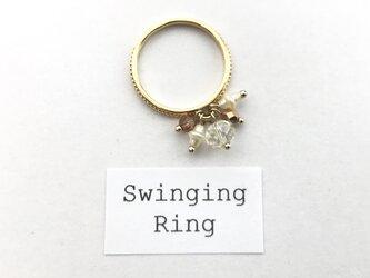 〈 Swinging Ring:TEA TIME〉アンティークテイストナチュラルモチーフ  ヴィンテージパール使用  華奢リングの画像