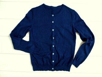 ◆100%自然素材 天然灰汁発酵建て 本藍染◆ スーピマコットン ラウンドネックカーディガンの画像